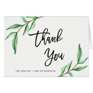 Minimalist Green Leaves | Thank You Card