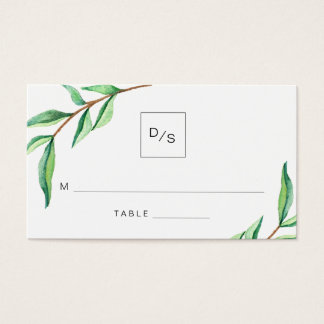 Minimalist Green Leaves Wedding Escort Cards