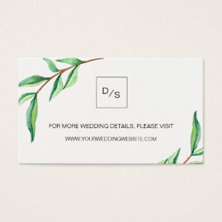 Minimalist Green Leaves Wedding Website Cards