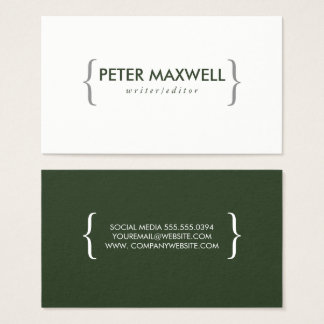 Minimalist Green with Brackets Business Card