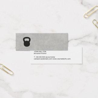 Minimalist Grey Black Kettle Bell Personal Trainer Mini Business Card