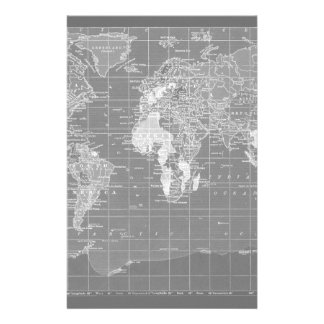 Minimalist Grey Vintage World Map Customized Stationery
