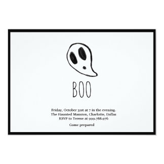 Minimalist Halloween Ghost Black And White Card