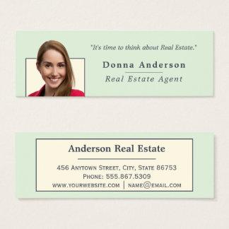 Minimalist Indigo Ivory Real Estate Photo Template Mini Business Card