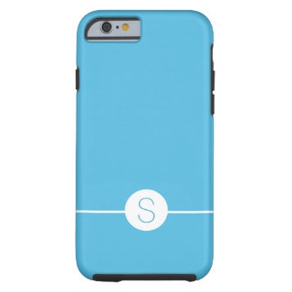 Minimalist iOS 8 Style - Plain Blue White Monogram Tough iPhone 6 Case