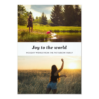 Minimalist Joy To The World Two Photos Holiday Card