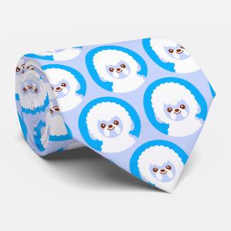 Minimalist Kawaii Bichon Frise Novelty Dog Tie