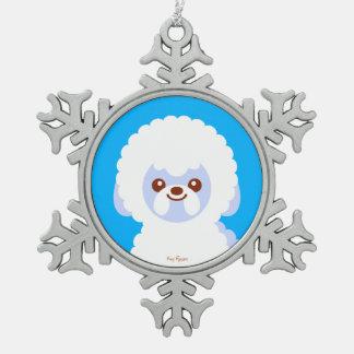 Minimalist Kawaii Bichon Frise Pewter Snowflake Ornament