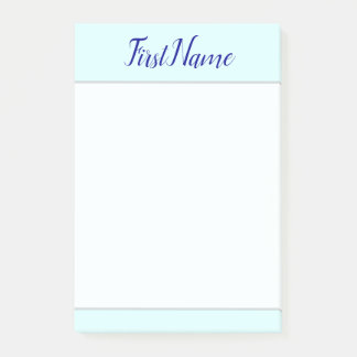 Minimalist Light Cyan Background & Dark Blue Name Post-it Notes