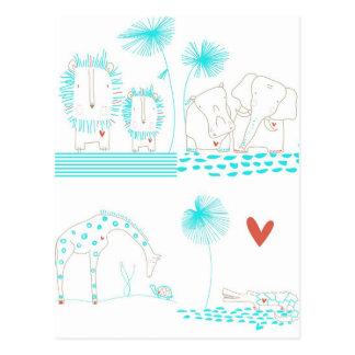Minimalist Lion, Turtle, Crocodile and Giraffe Post Card