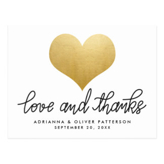 Minimalist Love And Thanks Faux Gold Foil Heart Postcard