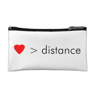 "minimalist ""love is greater than distance""  quote cosmetic bag"