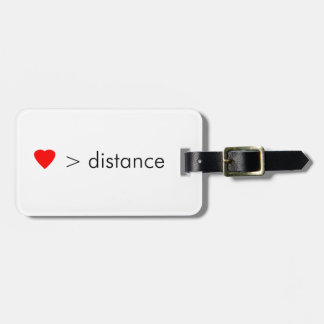 "minimalist ""love is greater than distance""  quote luggage tag"