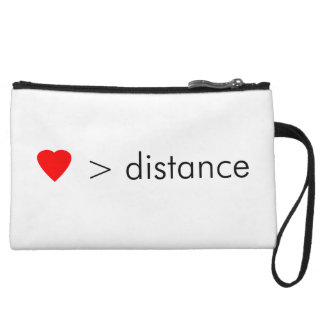 """minimalist """"love is greater than distance""""  quote wristlet"""