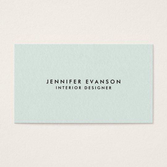 Minimalist Mint Green Modern and Professional Business Card