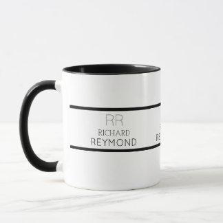 minimalist modern b/w name & initials elegant mug