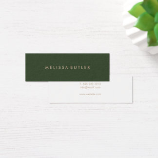 Minimalist Modern Elegant Green Mini Business Card