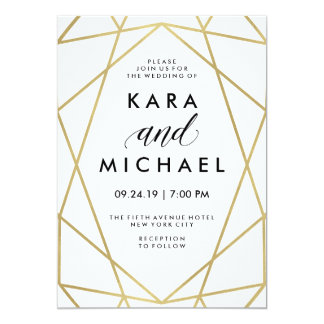 "Minimalist Modern Faux Gold on White 5"" X 7"" Invitation Card"