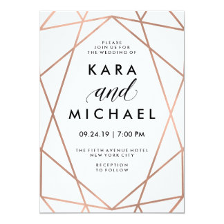 "Minimalist Modern Faux Rose Gold on White 5"" X 7"" Invitation Card"