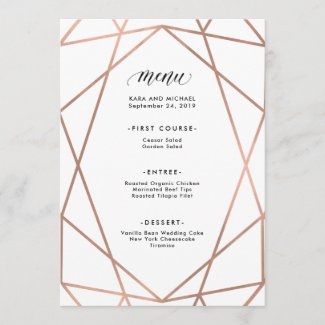 Minimalist Modern Faux Rose Gold on White Menu