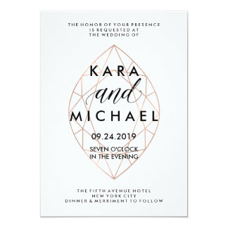 "Minimalist Modern Geometric Diamond Wedding 5"" X 7"" Invitation Card"