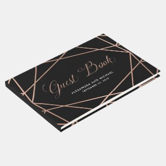 Minimalist Modern Geometric Faux Rose Gold | Black Guest Book