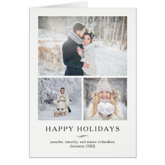 Minimalist Modern Happy Holidays | Three Photos Card
