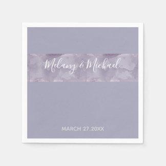 Minimalist modern lavender watercolor stripe disposable napkins