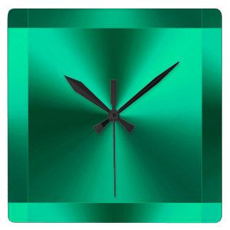 Minimalist Modern Metallic Green Clock