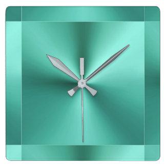 Minimalist Modern Metallic Mint Sage Green Square Wall Clock