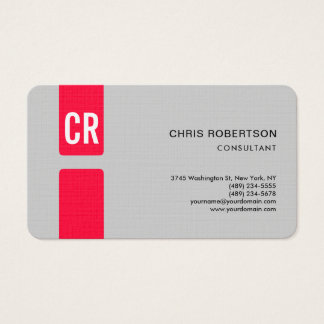 Minimalist Modern Monogrammed Linen Paper Red Grey Business Card