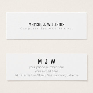 minimalist modern professional simple plain white mini business card