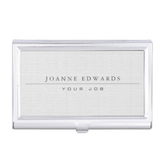 Minimalist modern professional white burlap business card holder