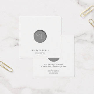 Minimalist modern square Business Card grey circle