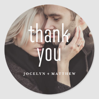 Minimalist Modern Thank You Overlay with Photo Round Sticker