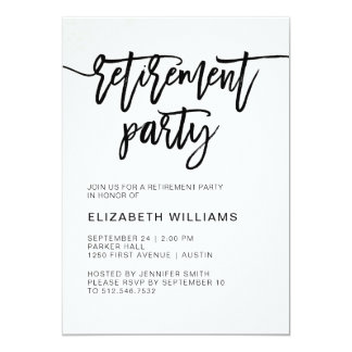 Minimalist Modern Typography Retirement Party Card