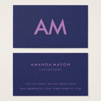 Minimalist Monogram Purple Business Card
