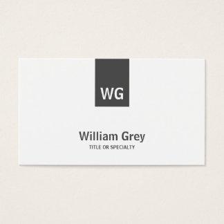 Minimalist Monogram White Grey Modern Profile Card