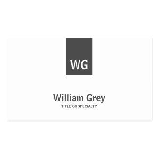 Minimalist Monogram White Grey Modern Profile Card Business Card