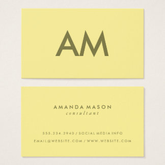 Minimalist Monogram Yellow Business Card