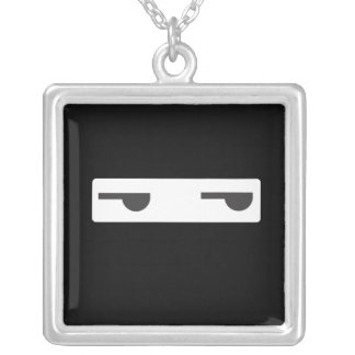 minimalist ninja silver plated necklace