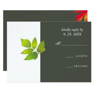 Minimalist Oak Maple Wedding RSVP Card