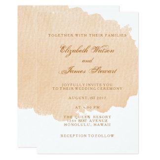 Minimalist Orange Brush Wedding Invitation Card
