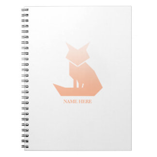 Minimalist Peach Gradient Fox Spiral Notebook