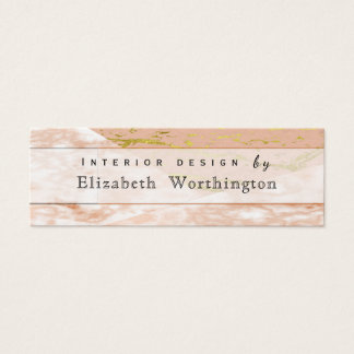 Minimalist Pink Feminine Marble Faux Stone Mini Business Card