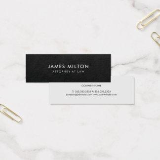 Minimalist Plain Texture Black Light Grey Attorney Mini Business Card