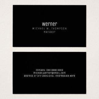 minimalist professional elegant manager black business card