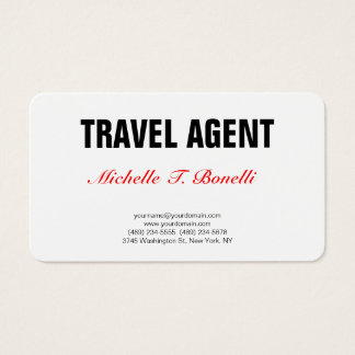 Minimalist Professional Plain Simple Travel Agent Business Card
