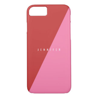 Minimalist red and pink customizable iPhone 7 case