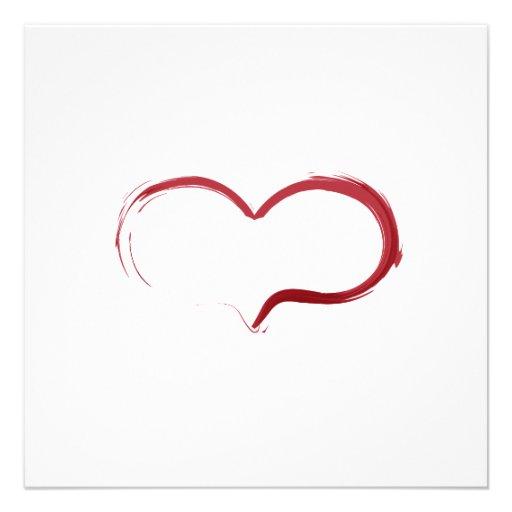 Minimalist Red Heart Calligraphy Card - Christmas Custom Invites